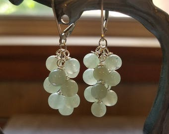 Genuine Aquamarine Cluster Earrings on Sterling Silver Leverbacks