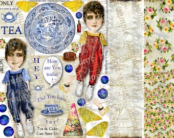 ART TEA LiFE Blue Willow Paper Dolls Parts Collage Sheet digital file printable download decoupage scrapbook journal card tag strips borders