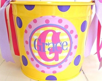 ON SALE Pink polka dot personalized ten quart bucket for toy storage - gifts - Easter - room decor -  metal bucket - powder coated - decorat
