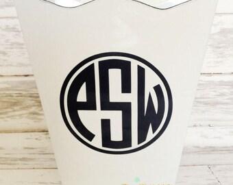 ON SALE scalloped wastebasket trash bin - monogrammed with three initial monogram, name or custom phrase - bathroom decor - office decor - b