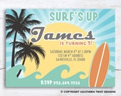 Surf's Up–Boy or Girl Surfer–Surf Birthday Invitation–Surfboard–Waves–Palm Trees–Sun–Surfer Party Invitation–Printable or Custom Printed