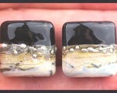 Ebony Black and Crackled Ivory...Matched Handmade Lampwork Glass Bead Pair SRA, Made To Order