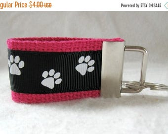20% OFF Paw Print Mini Key Fob - Small Dog Key Chain - Cat Key Fob - PINK Black Key Ring - Animal Zipper Pull - Backpack Identifier