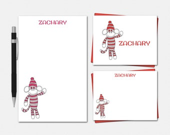 Sock Monkey Stationery Set - Personalized Sock Monkey Stationery - Personalised Stationary - Personalized Sock Monkey Stationery for Kids