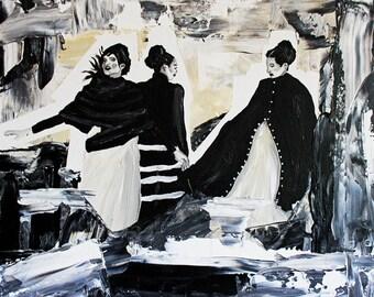 Something's Brewing 16x20 acrylic black white cream women painting
