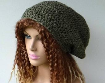 Hemp Virgin wool slouchy hat/khaki green Hippie beanie/hemp small Dreadlocks hat/dread tam hat/ Handmade in crochet woman man beanie hat