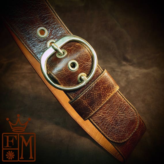 Brown leather Wide distressed ladies Hip belt Boho Bohemian luxury womens belt guitar strap made for You in NYC by Freddie Matara