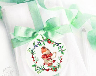 Robin in a teacup Christmas sticker, berry wreath, holiday decoration, gift wrap, glossy, round stickers, 2.25""