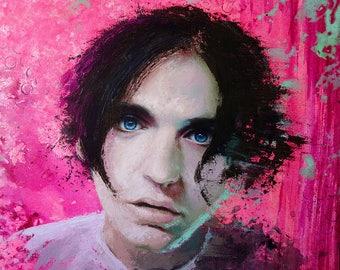 "ORIGINAL Brian Molko painting, 15x15"", oil on canvas"
