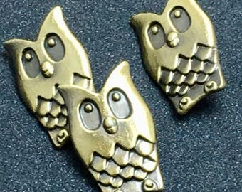 OWL Embossed Unique Woodland Antique Brass Dimensional Buttons