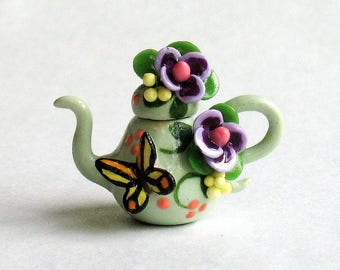 Handmade Miniature Blossoms & Butterfly Teapot by C. Rohal