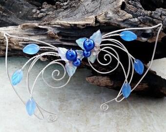 ON SALE Sapphire Blue Elf Ear Cuff Fairy Ears Pair or Single, Something Blue, Bridal Ear Cuff