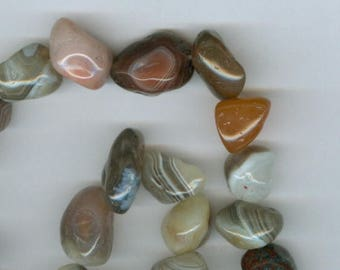 Botswana Tumbled Beads, Gray and Pink Botswana Banded Agate Tumbled Nugget Gemstone Beads Focal Bead 5176