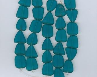 Teal Glass Beads, Teal Green Flat Free Form Sea Glass Triangle Beads Set of 6 Seaglass Freeform Bead