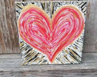 "Radiant Heart 6"" x 6"" Red, Black, and Gold Acrylic Painting - FREE SHIPPING"