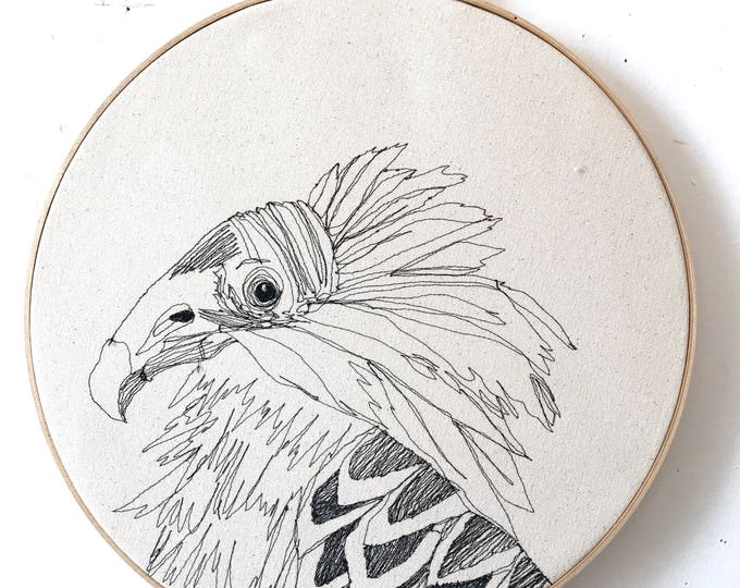 Featured listing image: Freehand Machine Embroidered  Turkey Vulture Portrait