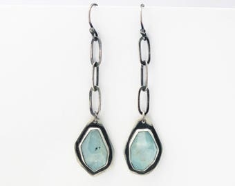 Faceted Aquamarine Earrings, Modern Random Irregular Facet Aquamarine Dangle Earrings-Caribbean Seas Earrings