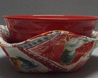 Microwave Bowl Cozy or Potholder Early to Rise Fabric
