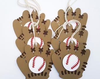 Baseball Glove Tags, Baseball Tags, Baseball Party, Baseball Birthday Tags, Gift Tags, Favor Tags, Goody Bag Tags, Loot Bag Tags