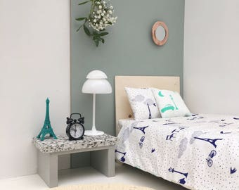 paris blue mini bedding set