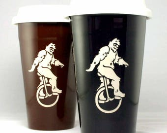 Sasquatch Travel Mug - Bigfoot on a Unicycle