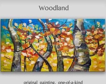 """Sale Art painting, 48"""" art, Original painting, abstract art, oil painting, Home art, Wall Art, Modern art, tim Lam -- Gold autumn birch blue"""