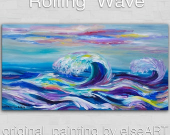 Original large modern Rolling Wave art abstract painting landscape painting gallery canvas Ready to hang by tim Lam 48x24