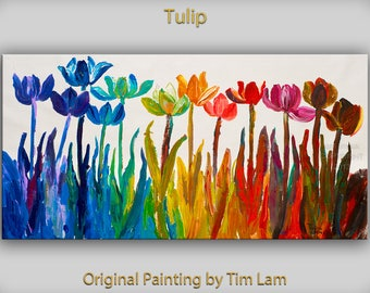 Flower art mixed media oil over acrylic on linen canvas  Original abstract muti-clolors vase  Ready to hang by tim Lam 48x24