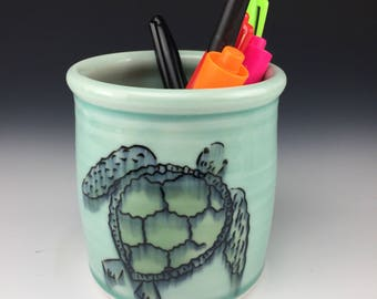 Sea turtle pencil holder. Free Priority US Shipping