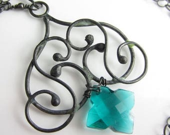 SUMMER SALE Teal Star Necklace - Teal Hydrothermal Quartz and Blackened Sterling Silver Necklace
