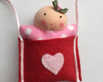 girls necklace // Waldorf doll // wearable art // Waldorf doll baby // gift for kids // art necklace // Valentines Day gift // handmade doll