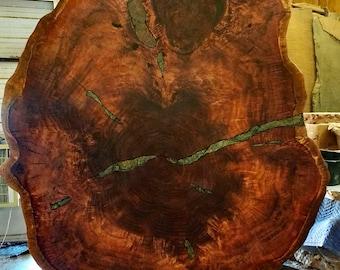 Huge Redwood Burl Cross-cut Table with Stone inlay, 6 x 7 feet! Redwood Root base, live edge wood slab, by Joni Hamari