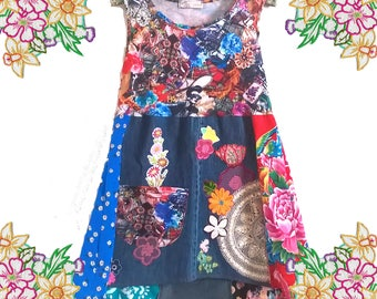 The Art Dress.Fabulous collage embellished denim and cotton frock.  Medium. Upcycled Refashioned Eco Clothing. Sweater Dress.