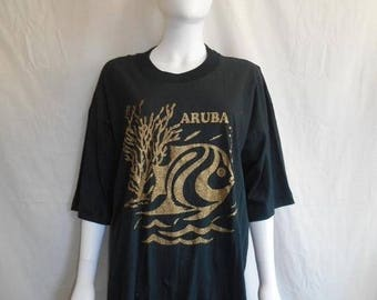 Closing Shop 40%off SALE ARUBA Tropical Fish t-shirt,  Fish ocean sea t shirt,  80s vintage t shirt, Glitter t shirt, Black vintage t shirt