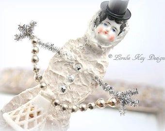 Snowgirl Art Doll Ornament Christmas Winter Doll Sculpted Snowman Art Doll China Head Doll Frozen Charlotte Lorelie Kay Original