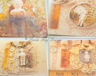 Notecard Set 8 Original Art Printed Frozen Charlotte Doll Pictures Postcard Set Stocking Stuffer Gift