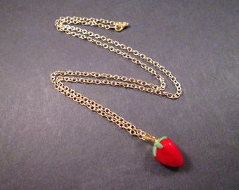 Strawberry Pendant Necklace, Lampwork Glass Beaded Necklace, Gold Chain Necklace, FREE Shipping U.S.