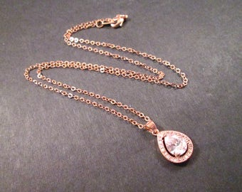 Cubic Zirconia Necklace, White Crystal Drop Pendant, Rose Gold Chain Necklace, FREE Shipping U.S.