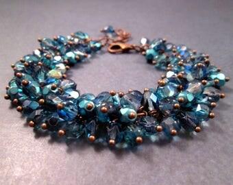 Cha Cha Style Bracelet, Bayou Blue Glass Beaded, Copper Wire Wrapped Charm Bracelet, FREE Shipping U.S.