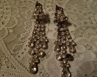 Vintage 1950's Rhinestone Clip On Earrings, 3 1/4 inches long, Hollywood Glam