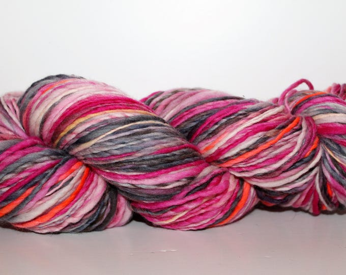 Handspun Merino Wool Yarn.  Single ply Worsted Weight. Kettle Dyed. Super Fine Merino. Appx. 4oz. 260 yards