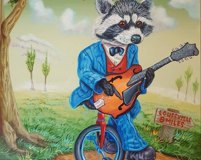 Raccoon with Mandolin - Original painting by Mr Hooper of Nashville Tennessee