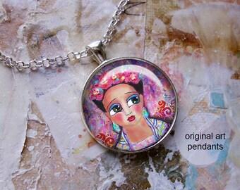 Frida Kahlo, original art pendants, only 5 pendants made of each design, Frida Kahlo jewelry, mixed media art, Frida Kahlo pendants