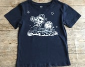 2 to 6 yrs Zombie Pirates Navy Blue organic t-shirt