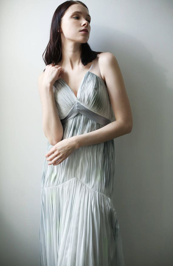 Super Sale -V-neck fitted Wedding gown: blue/gray hand-dyed and painted silk chiffon