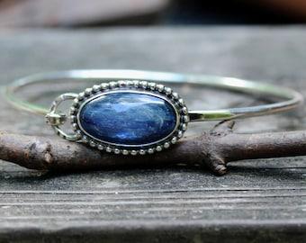 Kyanite sterling silver bangle bracelet