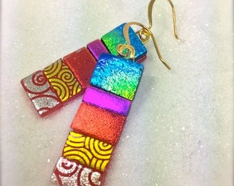 Rainbow dichroic glass earrings, Fused glass art,Hana Sakura Designs,Fusion glass jewelry,Dichroic jewelry,earrings handmade, glass earrings