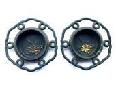 Japanese Door Pulls - Sliding Door Pulls - Pocket Door Pulls -  Vintage Door Pulls Cherry Blossoms  Black Gold Set of 2 (DP16-1)
