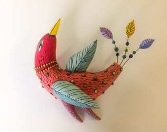 Red Bird with Green Wings