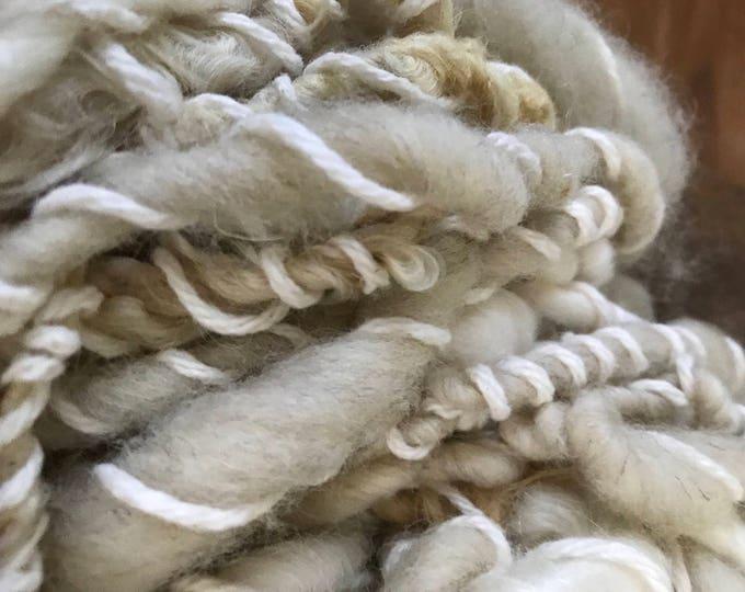 White art yarn, 40 yards, bulky chunky curly handspun, rustic art yarn, curly white yarn, undyed art yarn,
